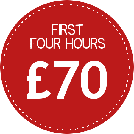 First four hours £60
